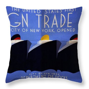 The United States' First Foreign Trade Zone - Vintage Poster Folded Throw Pillow
