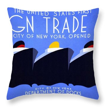 The United States' First Foreign Trade Zone - Vintage Poster Restored Throw Pillow