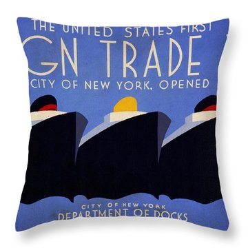 The United States' First Foreign Trade Zone - Vintage Poster Vintagelized Throw Pillow