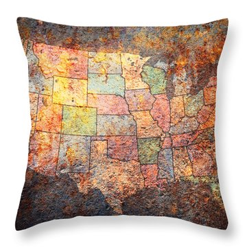 United States Map Throw Pillows