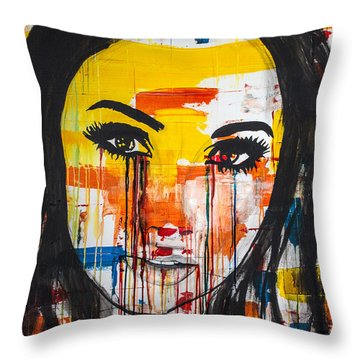 Throw Pillow featuring the painting The Unseen Emotions Of Her Innocence by Bruce Stanfield