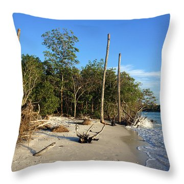 The Unspoiled Beauty Of Barefoot Beach In Naples - Landscape Throw Pillow