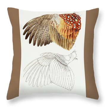 The Upper Side Of The Pheasant Wing Throw Pillow