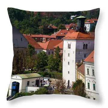 The Upper Town Throw Pillow by Rae Tucker