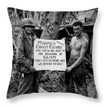 The U.s. Marines Salute The U.s. Coast Throw Pillow by Stocktrek Images