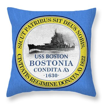 Throw Pillow featuring the photograph The Uss Boston by JC Findley
