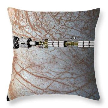 The Uss Savannah In Orbit Around Europa Throw Pillow