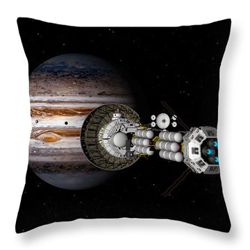 Throw Pillow featuring the digital art The Uss Savannah Nearing Jupiter by David Robinson