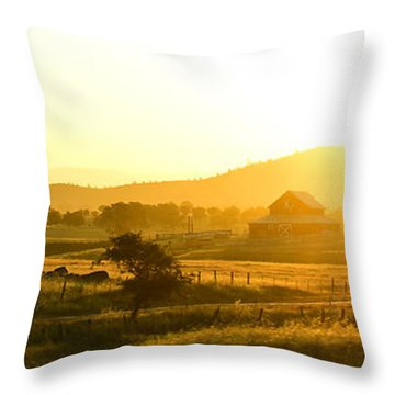 The Valley At Dawn Throw Pillow by MaryJane Armstrong
