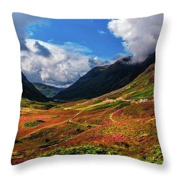 The Valley Of Three Sisters. Glencoe. Scotland Throw Pillow by Jenny Rainbow