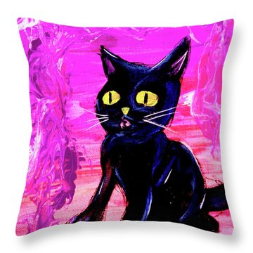Throw Pillow featuring the painting The Vampire Cat Baby Lestat by eVol i