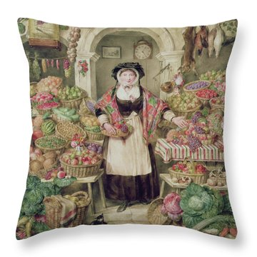 The Vegetable Stall  Throw Pillow by Thomas Frank Heaphy