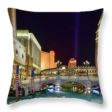 The Venetian Gondolas At Night Throw Pillow