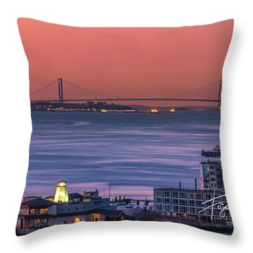 Throw Pillow featuring the photograph The Verrazano Bridge At Sunrise by Francisco Gomez