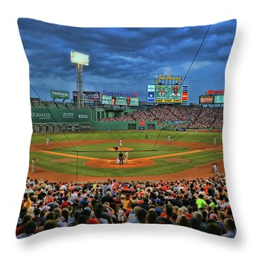 The View From Behind Home Plate - Fenway Park Throw Pillow