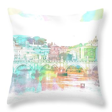 The View From Castel Sant'angelo Towards Ponte Sant'angelo, Brid Throw Pillow