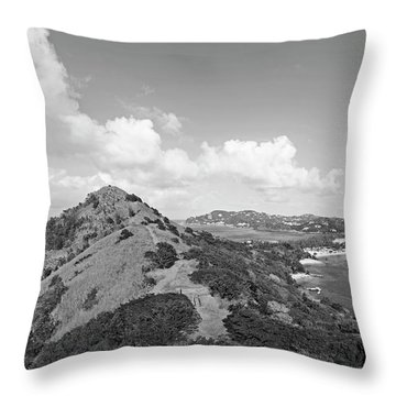 The View From Fort Rodney On Pigeon Island Gros Islet Black And White Throw Pillow