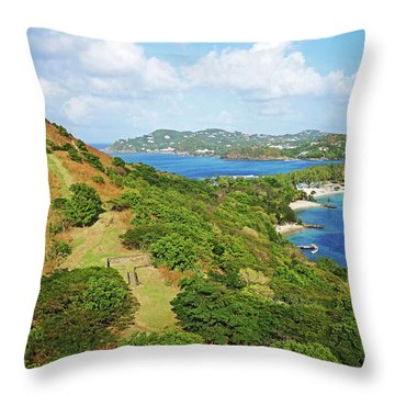 The View From Fort Rodney On Pigeon Island Gros Islet Blue Water Throw Pillow