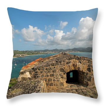 The View From Fort Rodney On Pigeon Island Gros Islet Caribbean Throw Pillow