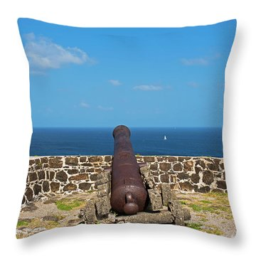 The View From Fort Rodney On Pigeon Island Gros Islet Saint Lucia Cannon Back Throw Pillow