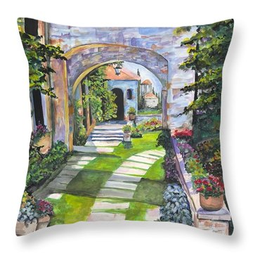 Throw Pillow featuring the digital art The Villa by Darren Cannell