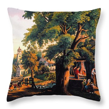 The Village Blacksmith Throw Pillow by Granger