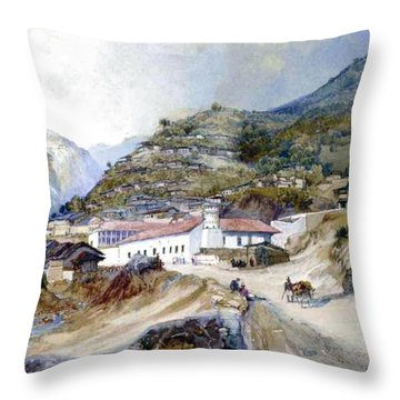 The Village Of Angangueo Throw Pillow by Thomas Moran