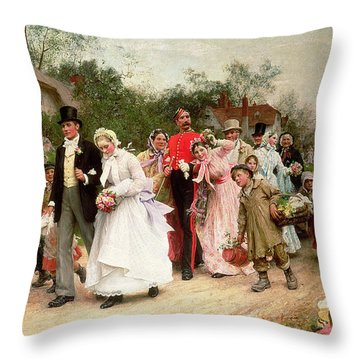 The Village Wedding Throw Pillow by Sir Samuel Luke Fildes