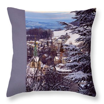 Throw Pillow featuring the photograph The Village - Winter In Switzerland by Susanne Van Hulst