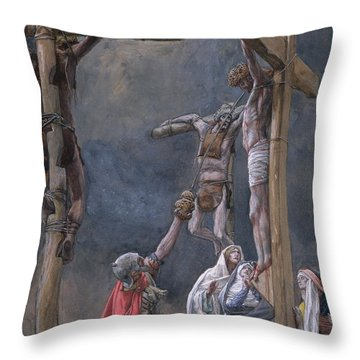 The Vinegar Given To Jesus Throw Pillow by Tissot