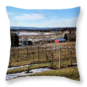 The Vineyard On Old Mission Throw Pillow