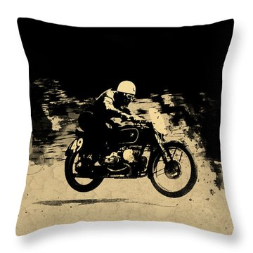 The Vintage Motorcycle Racer Throw Pillow by Mark Rogan