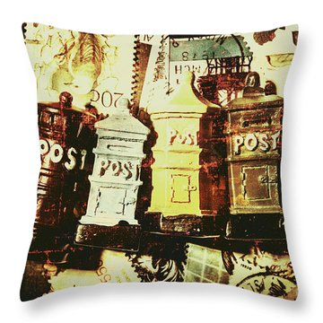 The Vintage Postage Card Throw Pillow