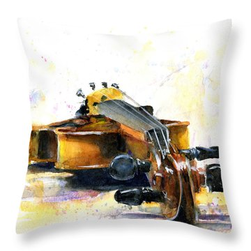 The Violin Throw Pillow by John D Benson