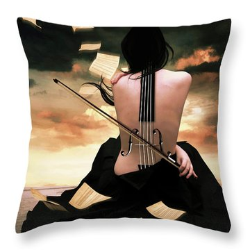 The Violin Song Throw Pillow by Mihaela Pater