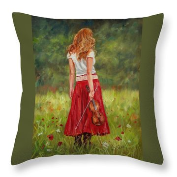 The Violinist Throw Pillow by David Stribbling