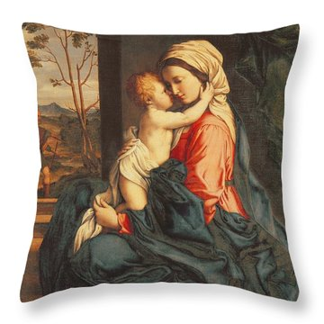 The Virgin And Child Embracing Throw Pillow