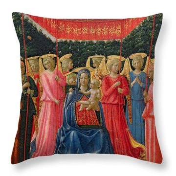 The Virgin And Child With Angels Throw Pillow by Fra Angelico