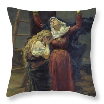 The Virgin At The Foot Of The Cross Throw Pillow by Jean Joseph Weerts