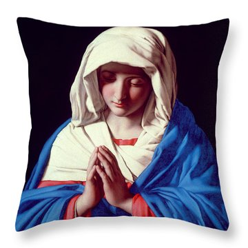The Virgin In Prayer Throw Pillow