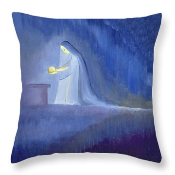 The Virgin Mary Cared For Her Child Jesus With Simplicity And Joy Throw Pillow by Elizabeth Wang