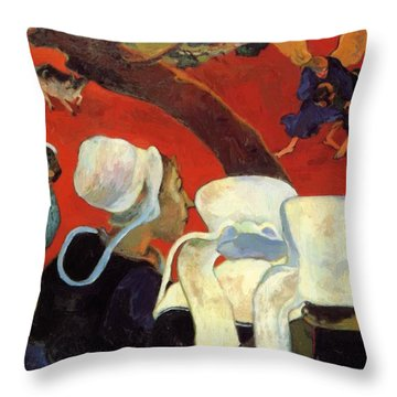 The Vision After The Sermon Jacob Wrestling With The Angel 1888 Throw Pillow