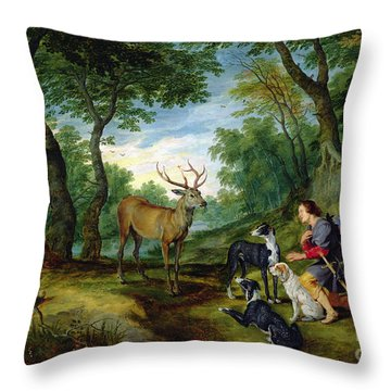 The Vision Of Saint Hubert Throw Pillow