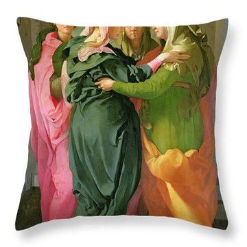 The Visitation Throw Pillow by Jacopo Pontormo