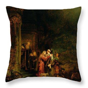 The Visitation Throw Pillow by  Rembrandt Harmensz van Rijn