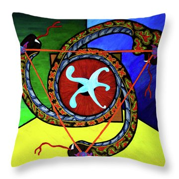 The Vitruvian Serpent Throw Pillow