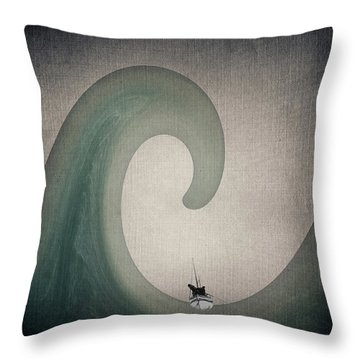 Throw Pillow featuring the digital art The Voyage Of The James Caird. by Andy Walsh