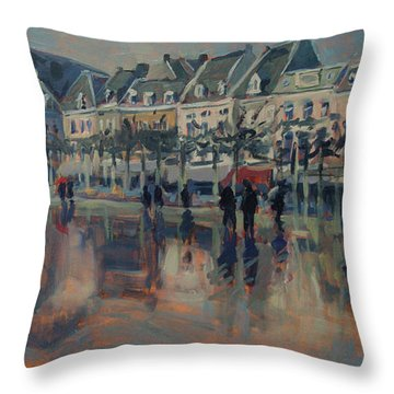 The Vrijthof Just After The Rain In Maastricht Throw Pillow