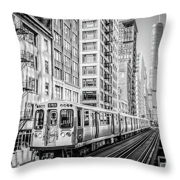 The Wabash L Train In Black And White Throw Pillow