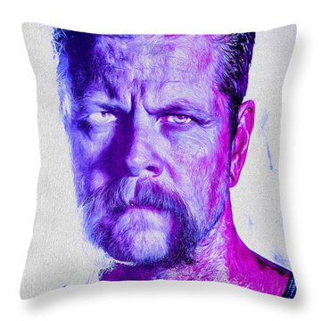 The Walking Dead Michael Cudlitz Sgt. Abraham Ford Painted Throw Pillow by David Haskett